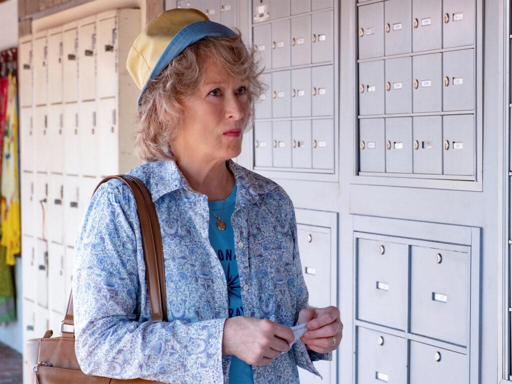 Bild på Meryl Streep framför säkerhetsboxar