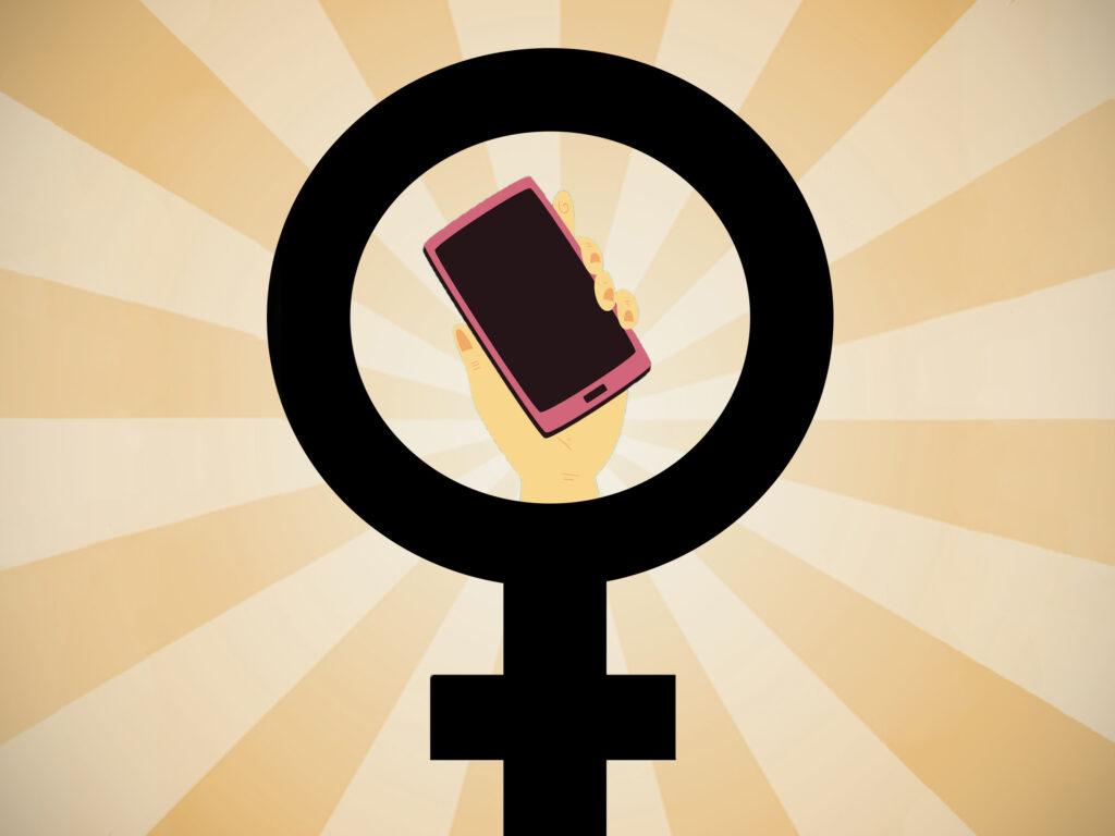 En grafisk symbol med kvinnotecknet och en kvinnligt kodad hand i mitten som håller en mobiltelefon.