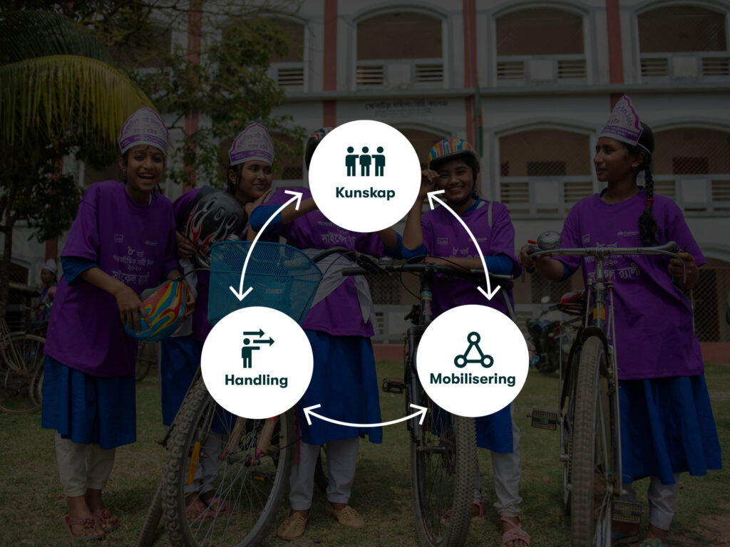 En symbol med texten kunskap-mobilisering-handling