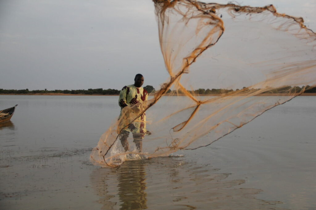 A person casting a fishining net in a lake.