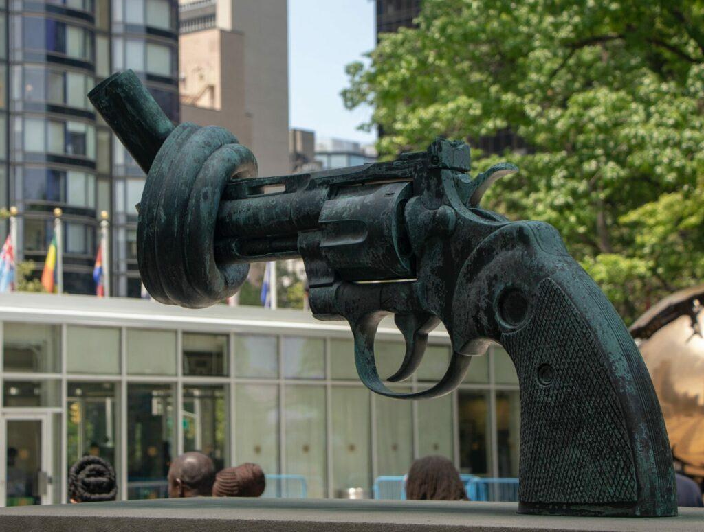 The sculpture 'Non-Violence' at the UN headquarters in New York.