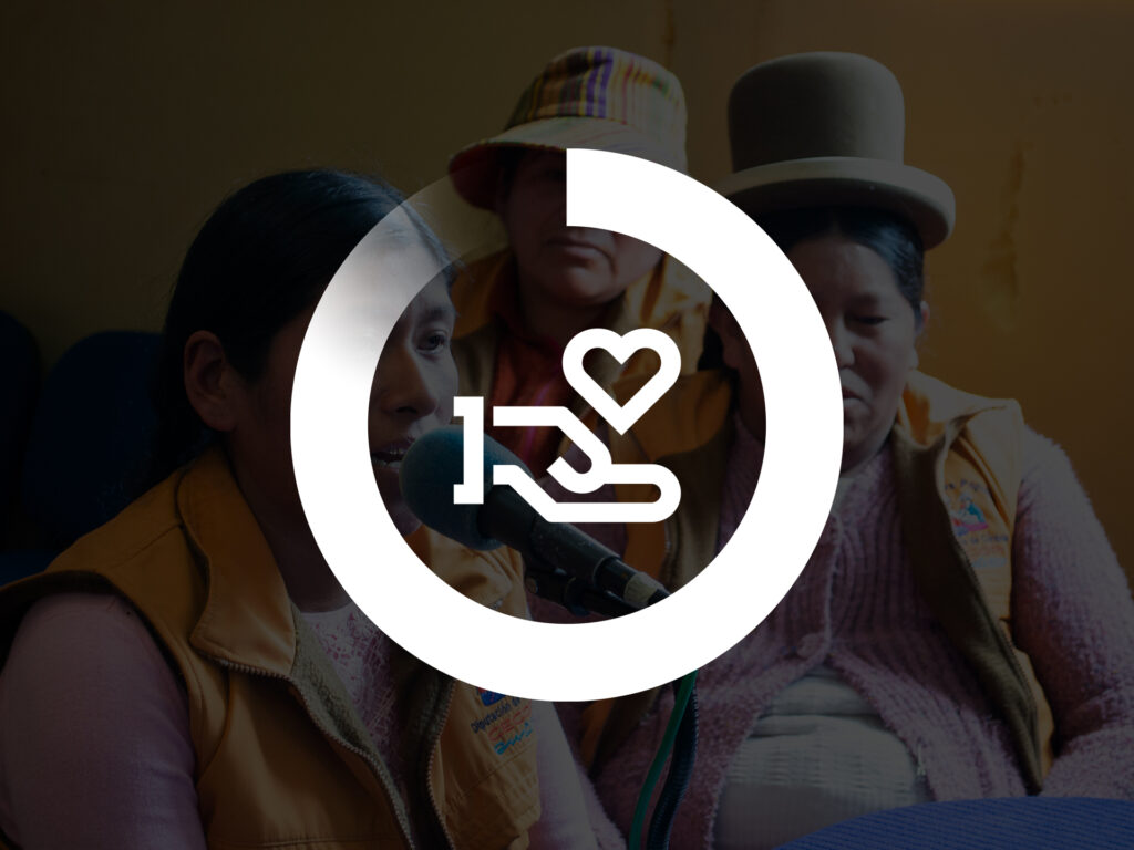 A graphic image showing the symbol for donation - a hand holding a heart - inside Diakonias circle progress bar