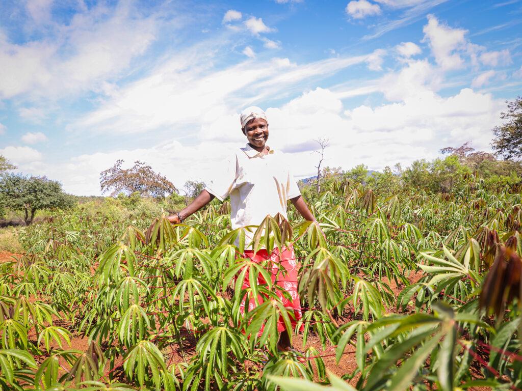 A Kenyan farmer standing in a green field.