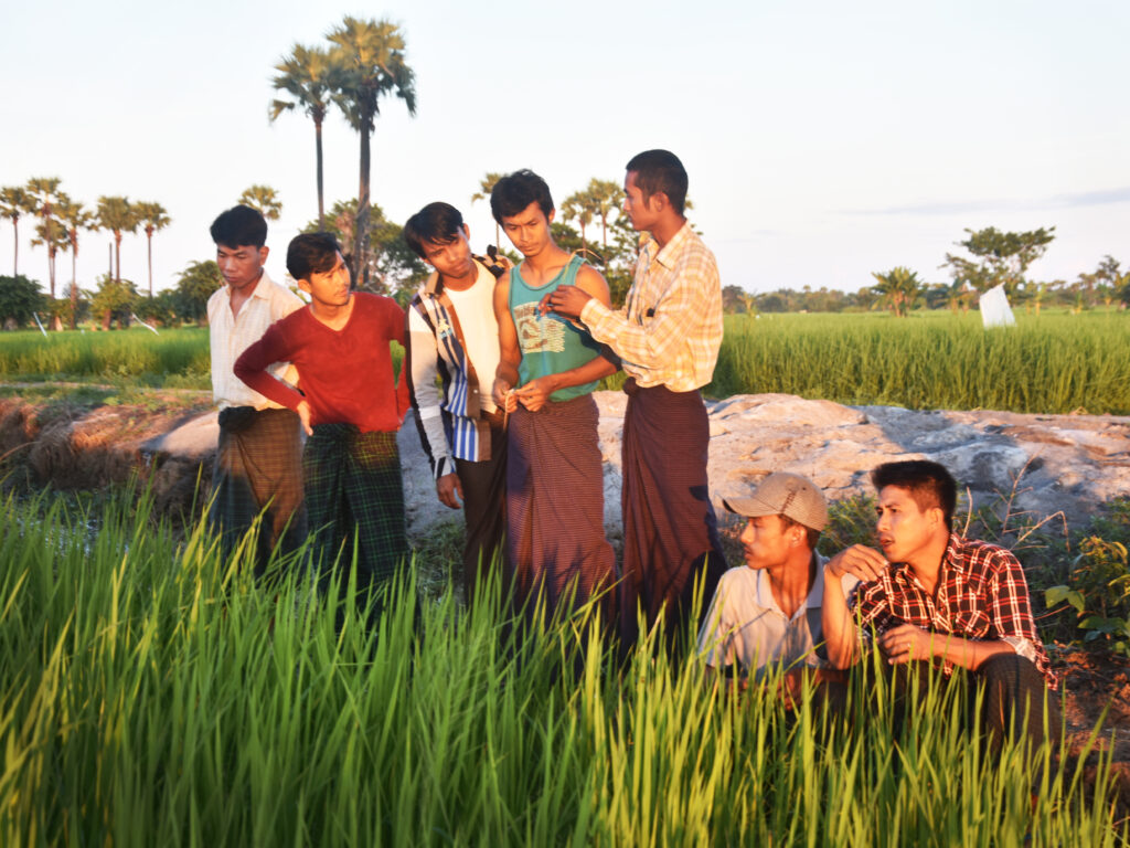 Group of young farmers in the field