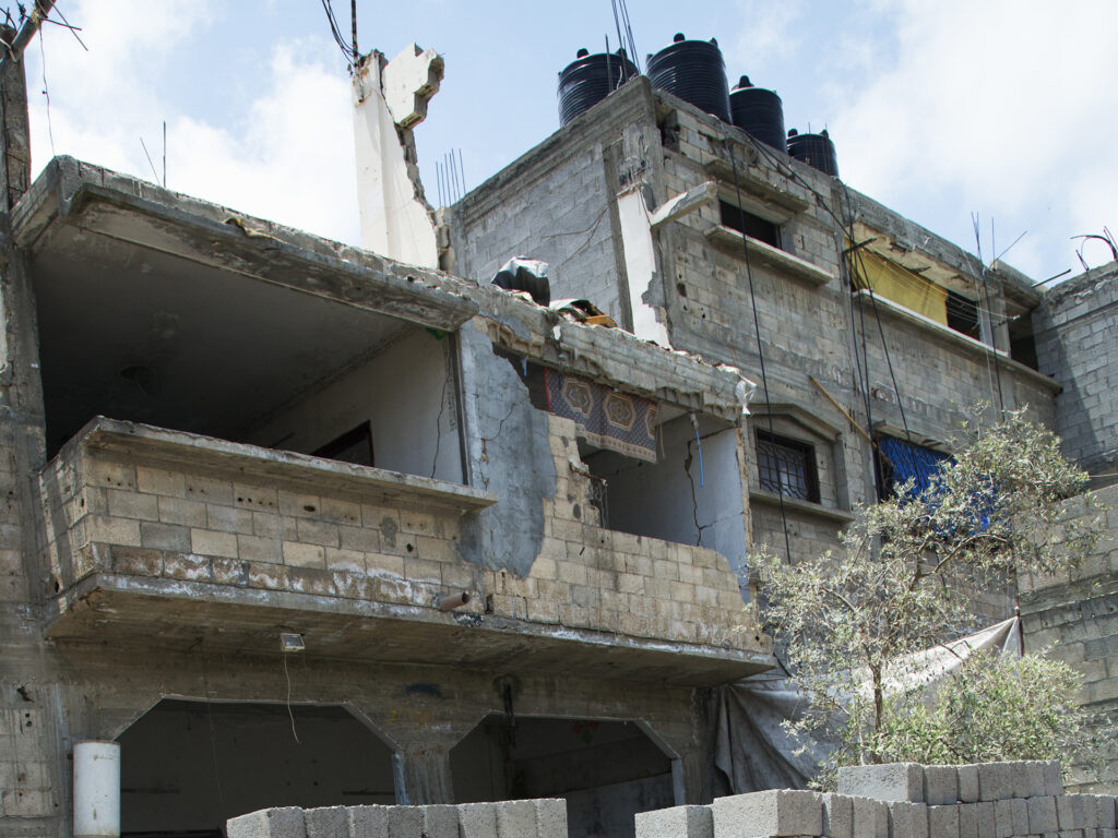 A view of bombed houses in Gaza.
