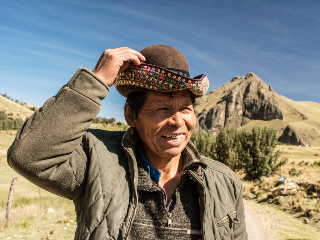 Man with hat in the mountains Peru