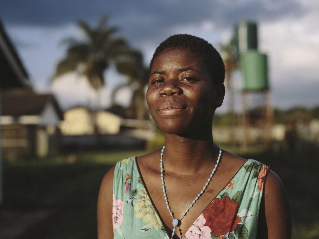 Portrait of Zimbabwean woman in sunset.